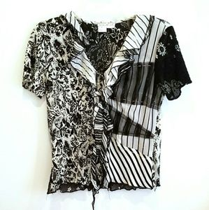 Alberto Mikali black and white blouse